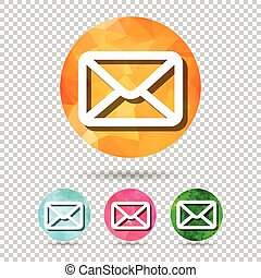 set of abstract geometric mail button icon from triangular faces for graphic design