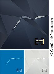 Set of abstract geometric triangle polygonal space low poly dark background. Vector