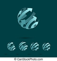 Set of Abstract Globe Logo Elements