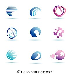 set of abstract globe vector icons