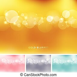 Set of abstract gold, pink, gray, blue color blurred background with circles bokeh and sparkle. Copy space.
