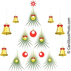 Set of abstract green Christmas tree with balls and bells. EPS10 vector illustration