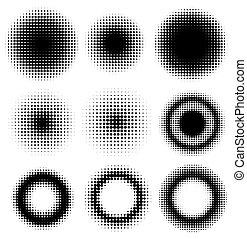 Set of Abstract Halftone Design Elements Circles, vector