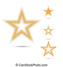 Set of abstract halftone design elements, star shape - Set...