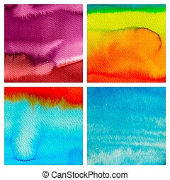 set of abstract hand drawn watercolor background, aquarelle text