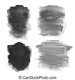 Set of Abstract hand drawn watercolor background, raster illustr