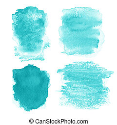 Set of Abstract hand drawn watercolor background, raster ...