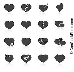 Set of abstract heart icons