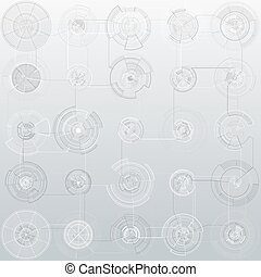 Set of abstract hud elements isolated on gray background. High tech motion design, round interfaces, connecting systems. Science and technology concept. Futuristic vector.