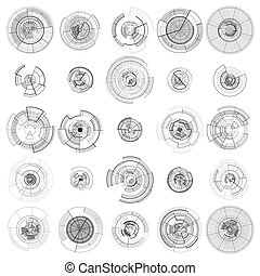 Set of abstract hud elements isolated on white background. High tech motion design, round interfaces, connecting systems. Science and technology concept. Futuristic vector.