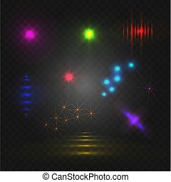 Set of abstract lights, VECTOR glowing elements