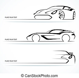 Set of abstract monochrome linear sports car silhouettes. Vector illustration