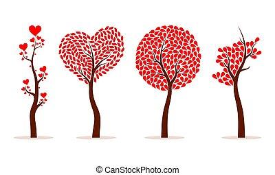 Set of abstract love tree. Vector illustration