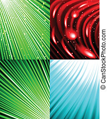 Set of Abstract luminous rays background. Vector