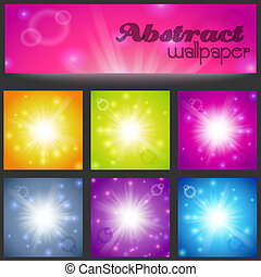 Set of abstract magic light background.