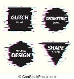 Set of abstract minimal template design in geometric glitch style. Trendy abstract covers. Futuristic design posters