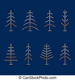 Set of abstract minimalistic golden Christmas trees