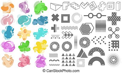 Set of abstract modern geometric elements and color shapes.