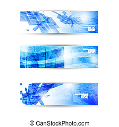Set of abstract modern header banner for business flyer or ...