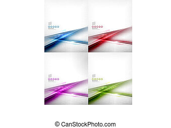 Set of abstract motion lines design templates - Set of ...