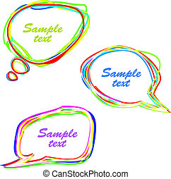 Set of abstract multicolored speech bubbles