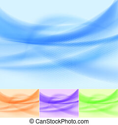 Set of abstract multicolored wave backgrounds