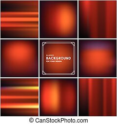 Set of abstract orange background