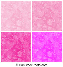 Set of abstract pink watercolor