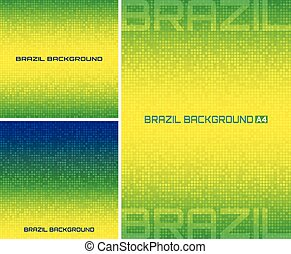 Set of Abstract pixel digital background using Brazil flag colors