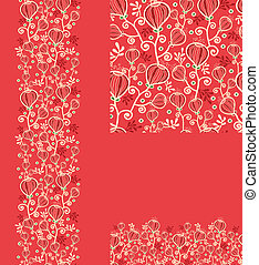 Set of abstract plants seamless pattern and borders backgrounds