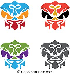 set of abstract polynesian masks vector design template