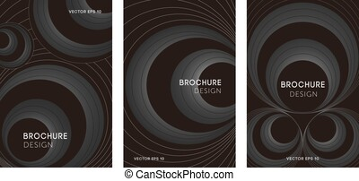Set of abstract posters with geometric circles.