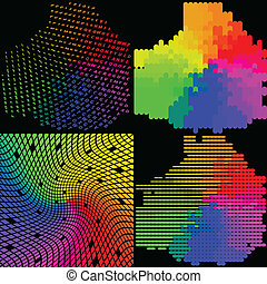 Set of Abstract rainbow colorful background. Vector