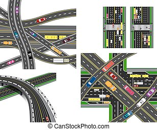 Set of abstract road junction. Crossing of various roads. Transport. illustration
