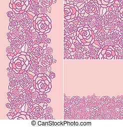 Set of abstract roses seamless pattern and borders backgrounds