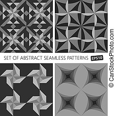 Set of abstract seamless pattern. Vector EPS10.