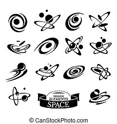 Set of abstract space icons vector illustration
