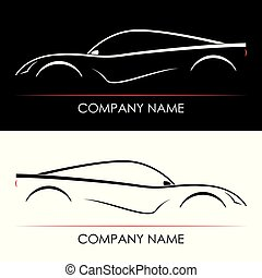 Set of abstract sports car silhouettes.