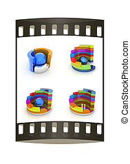 Set of abstract structure with green ball in the center. The film strip
