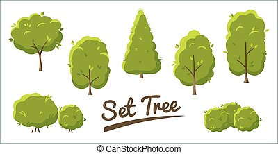 Set of abstract stylized trees in flat style. Green trees Isolated