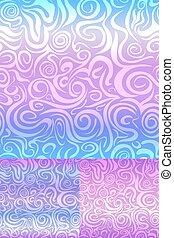 Set of Abstract Swirl Seamless Pattern