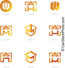 Set of abstract symbols on construction topics