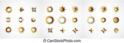 Set of abstract symmetric geometric icons