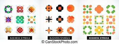 Set of abstract symmetric geometric icons