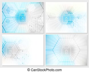 Set of abstract technological background with global...