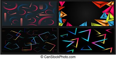 Set of abstract template colorful geometric vibrant on black background with space for your text.