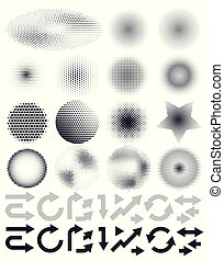 Set of abstract vector halftone and arrows, elements of design