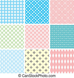 set of abstract vector seamless ornament patterns