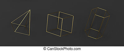 Set of abstract wired geometric primitives