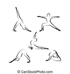 Set of abstract yoga poses